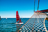 View from sailing boat, Hanseatic City, Luebeck Travemuende, Baltic Coast, Schleswig-Holstein, Germany