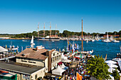 View towards the marina, Hanseatic City, Luebeck Travemuende, Baltic Coast, Schleswig-Holstein, Germany