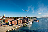 View towards city centre from a ship, Kiel, Baltic Coast, Schleswig-Holstein, Germany