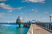 Pier with diving bell, Groemitz, Baltic Coast, Schleswig-Holstein, Germany