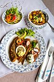 Fish dish, Restaurant, Arnis, Schlei fjord, Baltic Coast, Schleswig-Holstein, Germany