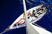View from the masthead onto the deck of a sailing yacht, Mallorca, Balearic Islands, Spain, Europe