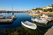 Boats in the harbor of Siros, Greek Islands, Aegean, Cyclades, Greece