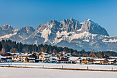 Oberndorf near Kitzbuehel, with view of the Wilder Kaiser, Tyrol, Austria, Europe