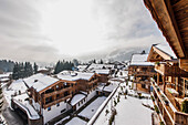 view to Kitzbuehel of the penthouse terrace in a modern alpine style, Kitzbuehel, Tyrol, Austria, Europe