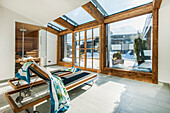Wellness area in the penthouse appartment of in a modern Alpine look, Kitzbuehel, Tyrol, Austria, Europe