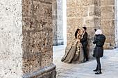 Wedding photographer at Salzburg cathedral, Salzburg, Austria, Europe