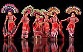 Dancers in a show wearing colourful costumes, culture, entertainment, Villa Escudero, Manila, Luzon, Philippines, Asia
