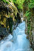 River flowing through narrow canyon, Wimbachklamm, National park Berchtesgaden, Berchtesgaden Alps, Berchtesgaden, Upper Bavaria, Bavaria, Germany