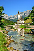 River Ramsauer Ache in front of church of Ramsau and Reiteralm i, Ramsau, Berchtesgaden, Berchtesgaden Alps, Upper Bavaria, Bavaria, Germany