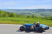 Bugatti T 35A 1926, Oldtimer, on the road the Tuscan landscape, Oldtimer, Racing cars, Mille Miglia, 1000 Miglia, 2014, 1000 Meilen, near Radicofani, Tuscany, Italy, Europe