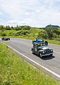 'FIAT 500 C ''Topolino'', 1951, Bugatti T 37/35T, on a road, Oldtimer, Motor Race, Mille Miglia, 1000 Miglia, Radicofani, Tuscany, Italy, Europe