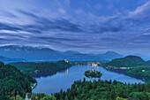 Still lake among rural landscape, Bled, Gorenjska, Slovenia, Bled, Gorenjska, Slovenia