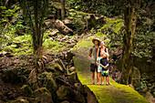 Caucasian family exploring jungle, Sayulita, Nayarit, Mexico