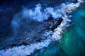 Aerial view of undersea volcanoes erupting, kapulani, HAWAII, USA