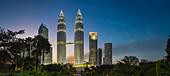 Illuminated skyscrapers in Kuala Lumpur city skyline, Kuala Lumpur, Malaysia, Kuala Lumpur, Kuala Lumpur, Malaysia
