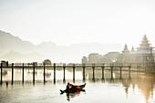 Mountains and bridge reflected in still lake, Hpa an, Kayin, Myanmar, hpaan, Kayin, Myanmar