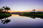 Sky reflected in still tropical lake, Puerto Vallarta, Jalisco, Mexico