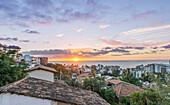 Aerial view of city rooftops, sunrise and horizon, Puerto Vallarta, Jalisco, Mexico, Puerto Vallarta, Jalisco, Mexico