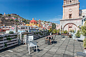 Rooftop cafe with cityscape view, Guanajuato, Guanajuato, Mexico, Guanajuato, Guanajuato, Mexico
