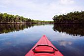 Kayak floating in lake, Miami, Florida, United States