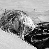 Caucasian woman laying outdoors, Nizniy Tagil, Sverdlovsk, Russia
