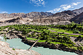 High angle view of houses and pastures in mountain valley, Indus River Valley, Jammu and Kashmir, India