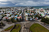 Aerial view of park and cityscape, Reykjavik, Iceland, Reykjavik, Iceland, Iceland