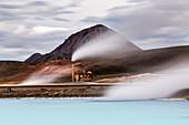 Geothermal power station in remote landscape, Myvatn, Iceland, Iceland