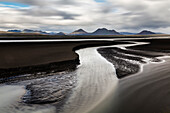 Stream of water on beach, Iceland, Iceland, Iceland