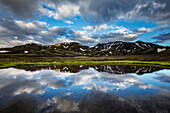 Blue sky and mountains reflected in still remote lake, Landmannalaugar, Iceland, Iceland