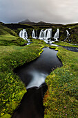 Waterfall, river and rock formations in remote landscape, Southern Highlands, Iceland, Iceland