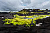 Mountain, rock formations and river in remote landscape, Southern Highlands, Iceland, Iceland