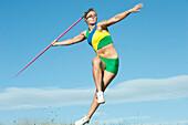 Caucasian athlete throwing javelin, Palouse, WA, USA