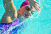 Caucasian woman swimming, Bainbridge Island, wa, USA