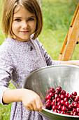 Caucasian girl holding bowl of fresh cherries on farm, Los Angeles, CA, USA