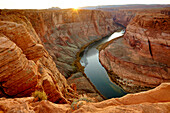 River winding through majestic rock formations in desert landscape, Page, Arizona, United States, Page, AZ, USA
