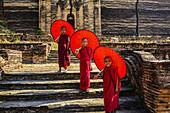 Asian monks standing under umbrellas near historic temple, Mingun, Mandala, Myanmar, Mingun, Mandalay, Myanmar