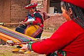 South America, Peru, Cuzco region, Urubamba Province, Chinchero, El Balcon del Inca association, weaving center