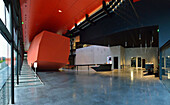 Europe,France, input Frac Rennes hall. Red building, reception desk and canopy  (architect Odile Decq)