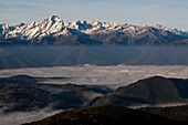 France, Midi Pyrenees, Ariege, Couserans, mountain of Valier, 2838m, snow, mist