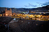 Cuzco Cathedral and Plaza de Armas at dusk in Peru,South America