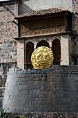 Inca God: Inti,Sun God,son of Viracocha-god of civilization. Cuzco in Peru,South America