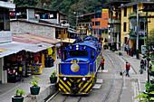 A Peru Rail train station platform at Aguas Calientes for the train to Machu Picchu in Peru,South America