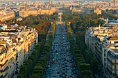 Paris city. The Champs-Elysées seen from the Arc de Triomphe. Paris. France.