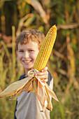 Caucasian boy holding ear of corn on farm
