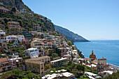 Aerial view of hillside city, Positano, Campania, Italy