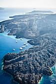 Aerial view of rocky rural coastline, Santorini, Egeo, Greece