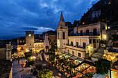San Giuseppe Church and piazza illuminated at night, Taormina, Sicily, Italy