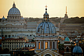 Ancient Domes and Cityscape, Rome at Sunrise, Italy
